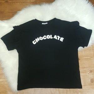 Zara Chocolate Graphic Tee Size L